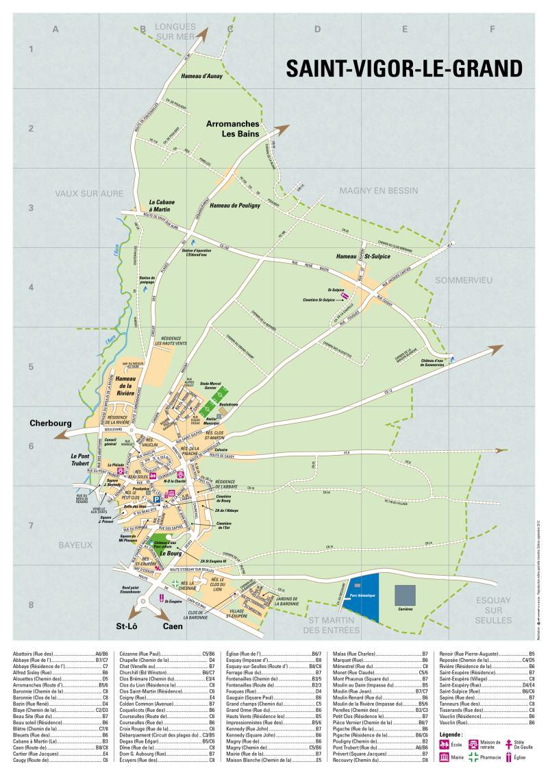 Plan de la commune de Saint Vigor le Grand